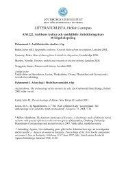 Litteraturlist - Institutionen för historiska studier