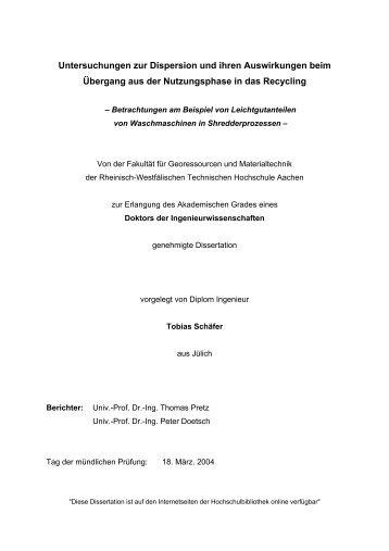 Untersuchungen zur Dispersion und ihren Auswirkungen beim ...