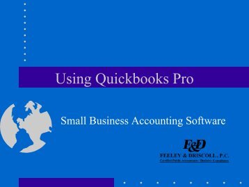 Using Quickbooks Pro--Small Business Accounting Software