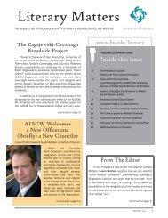 Literary Matters - Association of Literary Scholars, Critics, and Writers