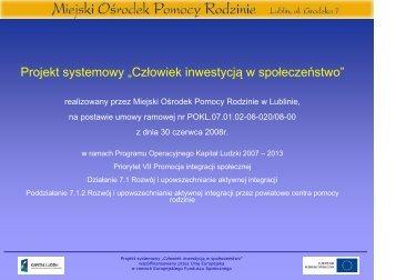 prezentacja - Zofia Rosołowska (MOPR) - Miejski Ośrodek Pomocy ...