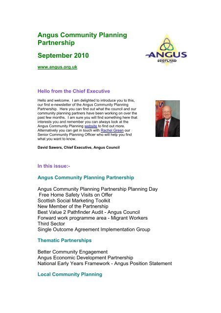 September 2010 - issue 1 (100 KB PDF) - Angus Community Planning