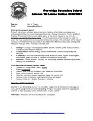 Science 10 Course Outline