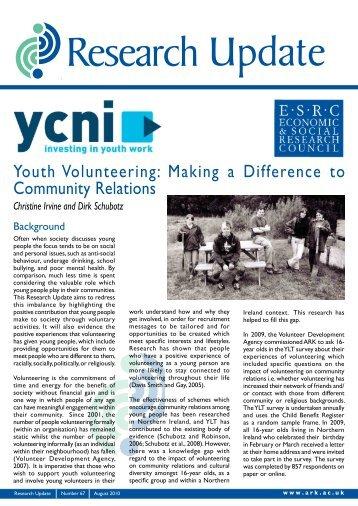 Youth Volunteering - Community Relations Report - Volunteer Now