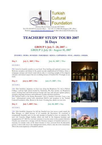 TEACHERS' STUDY TOURS 2007 16 Days - Turkish Cultural ...