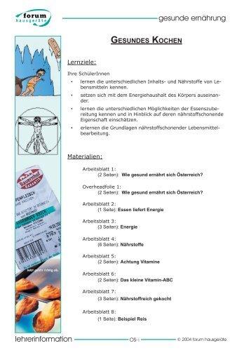 arbeitsblatt gesunde ernährung - Lehrer