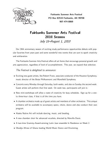 2010 Season Announcement - Fairbanks Summer Arts Festival