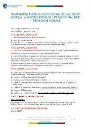 Immatriculation au Répertoire des Métiers suite modification de l ...
