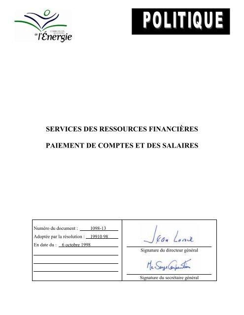Politique De Paiement Des Comptes Et Des Salaires Commission