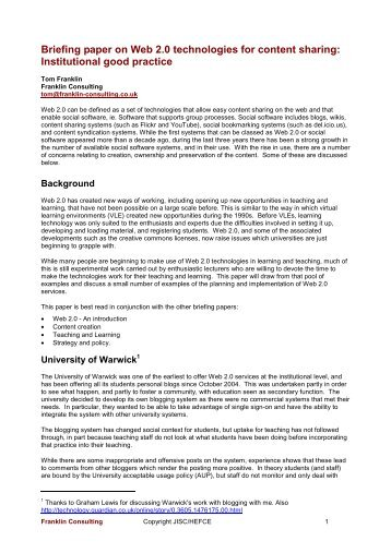 Content sharing Briefing paper on Web 2.pdf - Franklin Consulting