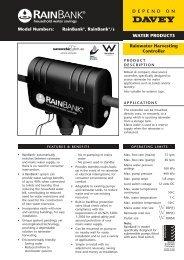 RainBank®, RainBank®/s Rainwater Harvesting Controller