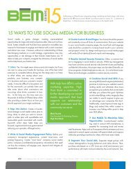 15 WAYS TO USE SOCIAL MEDIA FOR BUSINESS - BEM Interactive