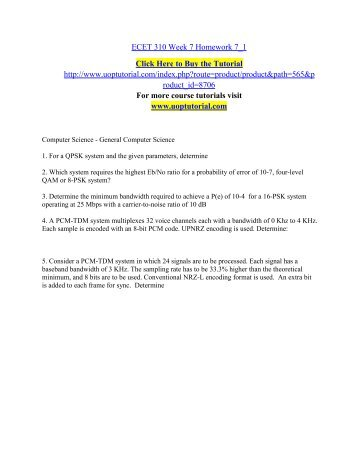 ecet310 week2 hw View homework help - ecet 310 week 1-1 homework from ecet 310 at devry  university, chicago homework 1_1 ecet310 1 add: (a) 60 db + 25 db 60 25.