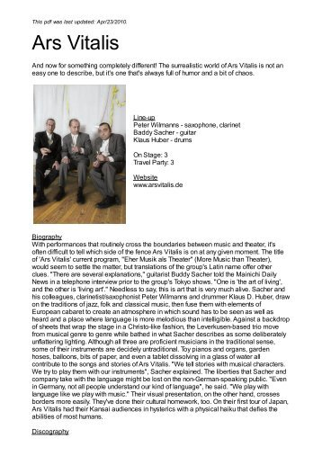 Ars Vitalis - Nova Concerts International