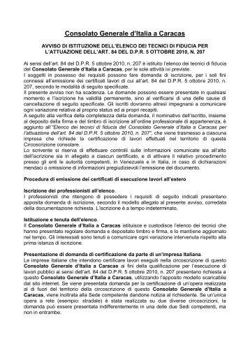 Avviso istituzione elenco tecnici - Consolato generale d'Italia a ...