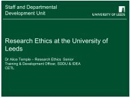 Research Ethics at the University of Leeds - Staff and Departmental ...