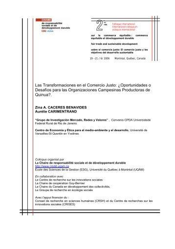 Las Transformaciones en el Comercio Justo - Chaire de ...