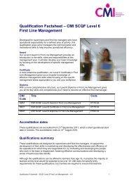 Qualification Factsheet – CMI SCQF Level 6 First Line Management