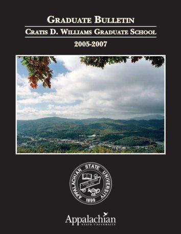 graduate bulletin - Registrar's Office - Appalachian State University