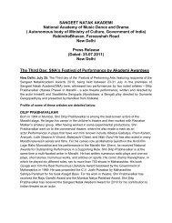 Press Release - 25 July 2011 - Sangeet Natak Akademi