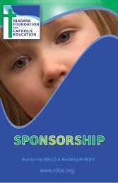 Sponsorhip Booklet - Niagara Foundation for Catholic Education