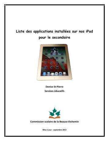 Liste des applications installées sur nos iPad ... - Récit de la CSBE