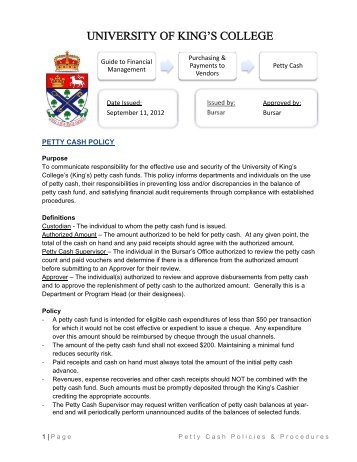 Petty cash policy - University of King's College