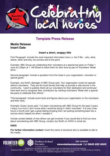 Template Press Release - Volunteer Now