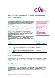 Qualification Factsheet – Level 6 Management and Leadership