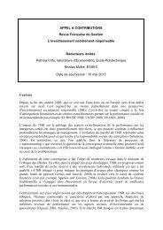 APPEL A CONTRIBUTIONS Revue Française de Gestion L ...