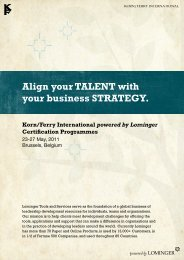 Align your TALENT with your business STRATEGY. Korn ... - Lominger