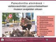 Paleodonttia etsimässä − verkkoviestintää Luonnontieteellisen ...