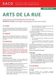 ARTS DE LA RUE - SACD