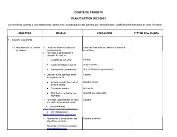 comité de parents plan d'action 2012-2013 - Commission scolaire ...