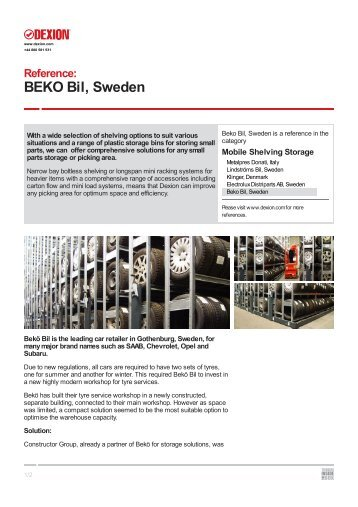 Beko Bil, Sweden - Dexion