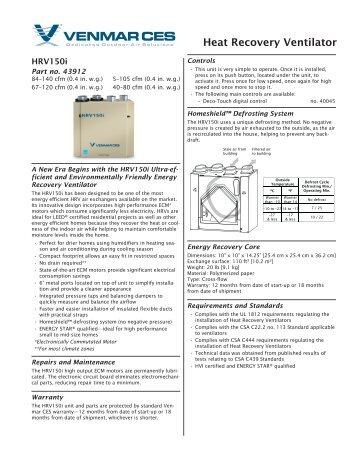 venmar hrv 2600 installation manual
