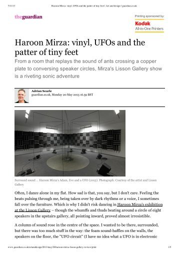 Haroon Mirza: vinyl, UFOs and the patter of tiny feet