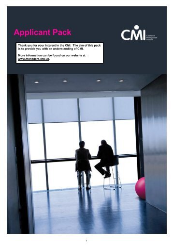 Applicant Pack - Chartered Management Institute