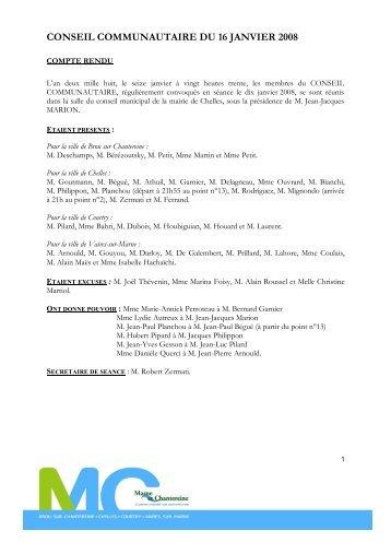 conseil communautaire du 16 janvier 2008 - Brou Sur Chantereine