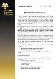 INFORMACJA PRASOWA Konkurs Kampania Społeczna Roku 2010