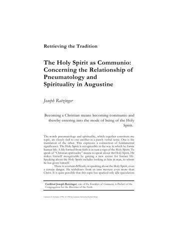 The Holy Spirit as Communio: Concerning the Relationship of ...