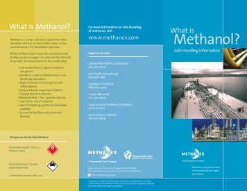 Methanex: What Is Methanol? - Safe Handling Information