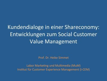 Kundendialoge in einer Shareconomy - Prof. Dr. Heike Simmet