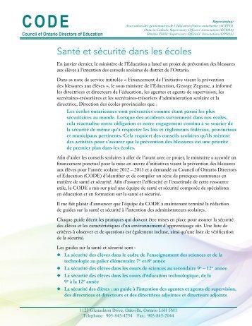 Santé et sécurité dans les écoles - CODE