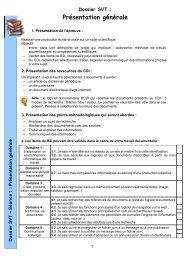 Dossier SVT : Présentation générale - Documentation dans l ...