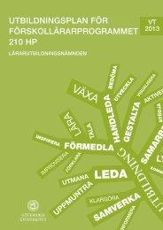 Utbildningsplan - Lärarutbildningsnämnden - Göteborgs universitet