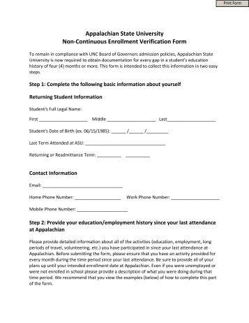 Non Resident Enrollment School Verification Form - University ...