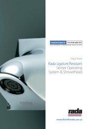 Rada Ligature Resistant Sensor Operating System & Showerhead