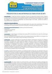 PRÉSENTATION D'UNE ENTREPRISE DE FABRICATION ... - Onisep