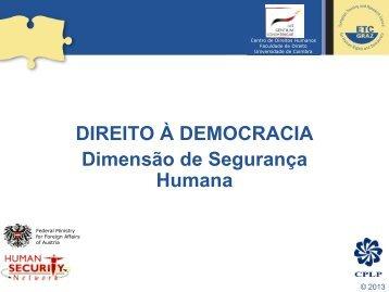 Democracia e Segurança Humana - Faculdade de Direito